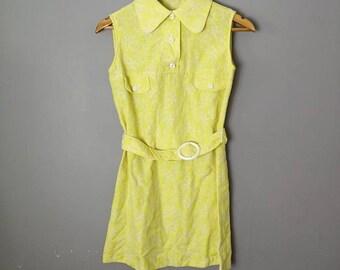 60s yellow go go dress / 60s mini dress / petite 60s short  dress / Primrose yellow and white dress / Peter Pan collar dress / Twiggy dress