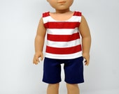 Navy Blue Doll Shorts - Red and White Striped Doll Tank Top - 18 Inch Boy Doll Clothes - Doll 4th of July Outfit - Doll Patriotic Outfit