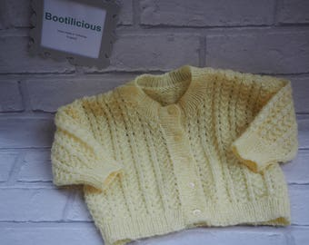 knitted baby cardigan/jacket/knitted baby coat/hand knitted baby jacket/girl's baby cardigan/lemon baby cardigan/lemon knitted cardigan.
