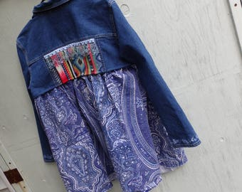 Embroidered Tribal Bohemian Denim Blue Jean Jacket// Reconstructed// Altered Clothing/