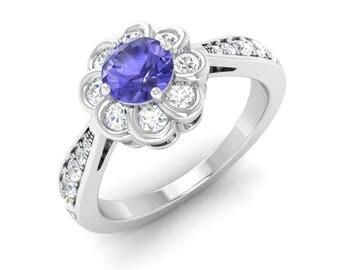 Round AAA Tanzanite Engagement Ring |Tanzanite Ring | Women Jewelry | Unique Ring | Tanzanite With Diamond 14K Gold Ring | Tanzanite Jewelry