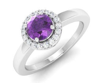 Natural Amethyst Ring With SI Diamond, Amethyst Engagement Ring/ Wedding Ring / Anniversary Ring / Gemstone Ring | Amethyst Ring Gold