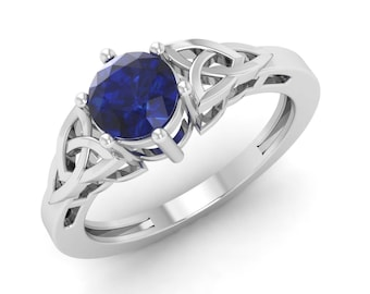 Blue Sapphire Engagement Ring, 14K White Gold, Solitaire Engagement Ring, Anniversary Ring, Wedding Ring,Gift For Her, Natural Sapphire Ring