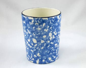 Stangl Tumbler Town & Country Blue Spatter Spongeware