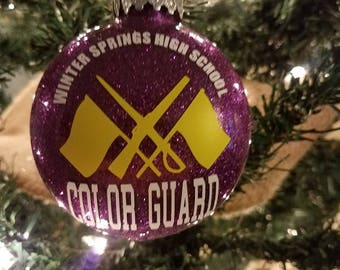Color Guard Ornament- Glittered & Personalized