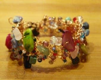 Multicolored crochet bracelet