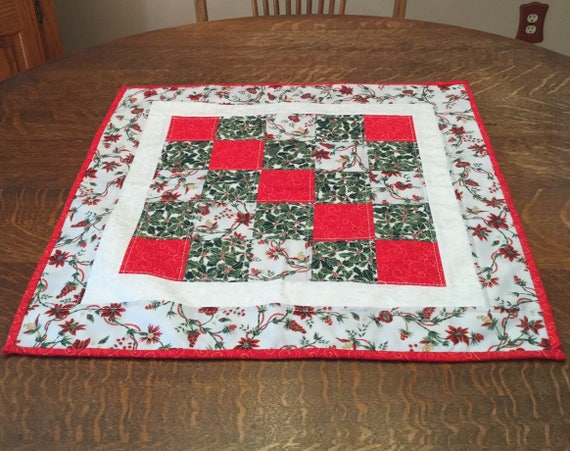 Quilted Table Topper, Christmas Table Topper, Quilted Christmas Table Topper, Topper, Holiday Table Topper