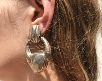 Vintage mexican silver earrings / sterling silver doorknocker earrings / oversized dangle earrings / sculptural earrings