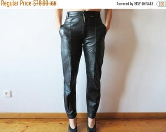 CIJ SALE Vintage 80s Black Leather Womens Pants High Waisted Peg Leg Genuine Leather Trousers Biker Motorcycle Rockstar Medium Size