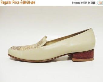 ON SALE Beige Leather Loafers Light Grey Golden Brocade Flats Wooden Heel Women's Tan Genuine Leather Shoes EUR 37 / Uk 4 / Us 6.5