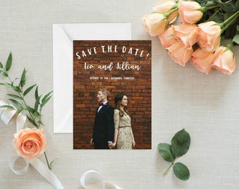 Modern Save the Date with a photograph, 5x7 printed with white envelope