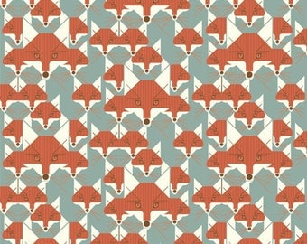 BIRCH  Cotton FLANNEL Certified Organic  Fabric  Charley Harper Fox Similies By the Yard
