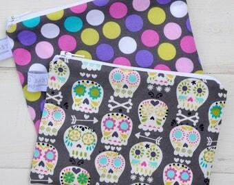 Eco Friendly Reusable Snack Bag - Choose Your Size and Print - Sorbet Polka Dot, Sugar Skull