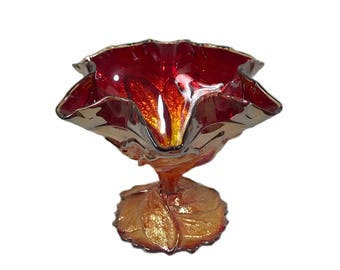 Imperial Sunset Ruby Carnival Glass Compote - by Imperial Glass