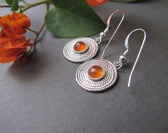 Jewelry, Earrings,Silver earrings, Filigree earrings,Carnelian earrings, Israel jewelry, Yemenite jewelry