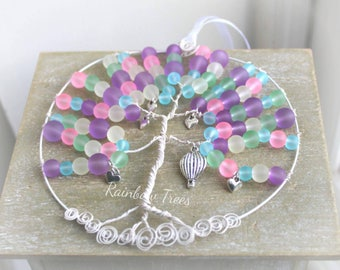 Hot air balloon pastel happy dreamcatcher rainbowtrees hearts wirework handcrafted