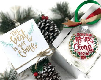 Hand Painted Engagement Christmas Ornament with Gift Box - Merry Christmas, Wedding Shower Mr and Mrs 2017 - Engaged the best is yet to come