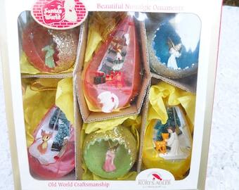 Vintage Set of 6 Plastic Christmas Ornaments Kurt Adler Ornaments