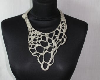 Light Grey Freeform Crochet Necklace