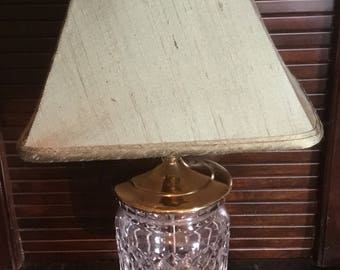 Vintage Waterford Crystal Biscuit Jar Lamp with Solid Brass Base with Green Silk Lampshade and Finial