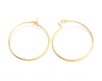 10 rings 25mm brass hoop earrings