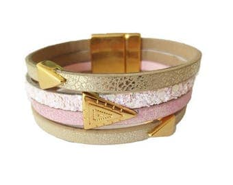 Kit faux leather Aztec Rose (made in Europe) Cuff Bracelet