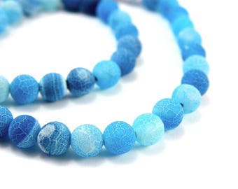 10 x 6mm TURQUOISE Frosted Crackle Agate beads
