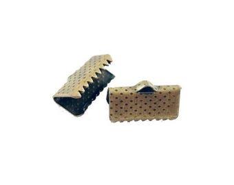 20 x claws Ribbon 13 mm ANTIQUE BRONZE caps
