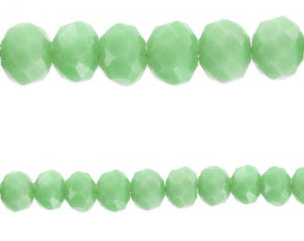 10 x beads glass Rondelle faceted (Abacus) 6x4mm green Milky