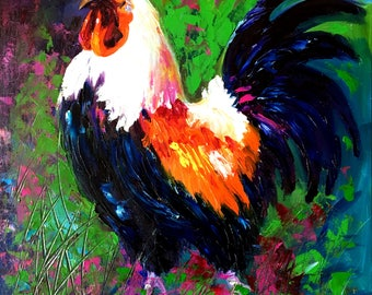 Rooster Art Chicken_Original Oil Painting on canvas panel by Tetiana