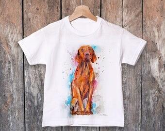 Vizsla watercolor kids T-shirt, Boys' Clothing, Girls' Clothing, ring spun Cotton 100%, watercolor print T-shirt,T shirt art