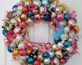 """24"""" Truly Vintage Antique Glass Christmas Ornament Wreath; Glass Ornaments; Vintage Wreath; W Germany Shiny Brite; Holiday Tree Topper"""
