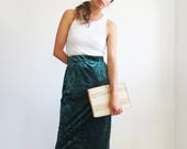 Green Velvet Skirt // Small 90s Mid-Length Pencil Skirt // Women's Vintage Clothing