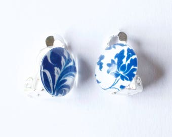 Floralese Blue & White Floral clip on earrings