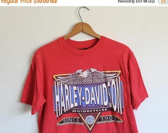 ON SALE LARGE Vintage 1992 Harley-Davidson Lancaster Red Graphic T-Shirt