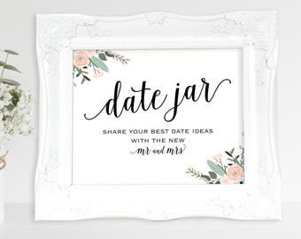 Floral Date Jar Sign, Mr and Mrs, Date Night Ideas, Date Jar Sign, Wedding Printable, Date Jar, Date Sign, PDF Instant Download, MM01-6