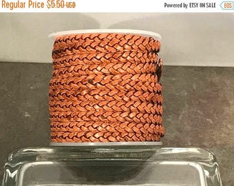 On Sale NOW 25%OFF 2 Feet (24 inches)  Top Quality 5mm Flat 3 Ply Braided Leather Cord - Vintage Light Brown