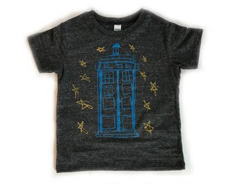 Tardis Kids T-Shirt, Dr. Who, Crew neck-Royal Apparel Eco Tri Blend Tee-Organic cotton, recycled poly and rayon