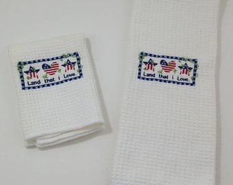 Land That I Love Microfiber hand towel and dish cloth - White