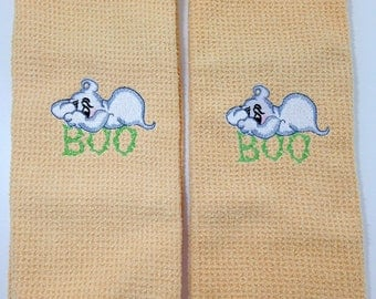 Boo Ghost Halloween Microfiber Hand Towels - Butter