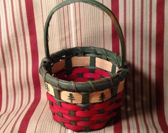 "Small Woven Christmas Basket - Woven Red & Green with Evergreen Tree Trim - Rustic Christmas Decor or Gift Basket - 7 1/2"" Tall, 5"" Wide"