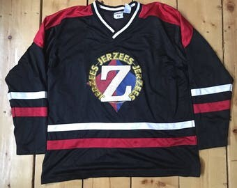 Vintage 1990s Jerzees Brand Colorblocked Red and Black Mesh Hockey Jersey - XL