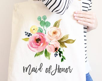 Maid of Honor Canvas Tote Bag, Flower Bouquet Gift For Wedding Party