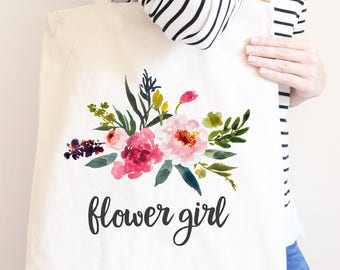 Flower Girl Gift, Personalized Canvas Tote Bag