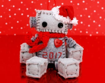 Limited Edition 2017 Mini Christmas Robot Ornament with a Red Santa Hat, Heart and Choice of Scarf, Geek Christmas Ornament CIJ