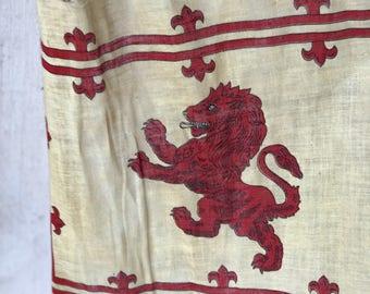 A vintage hand held Royal banner of Scotland flag