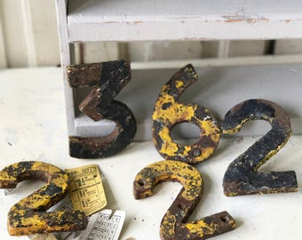 Original salvaged chippy painted cast iron railway numbers