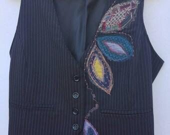 Womens vest, waistcoat waistcoat waistcoat, blue Pinstripe vest, upcycled Bohemian, boho, upcycled clothing, blue vest, waistcoat embroidered boho clothing