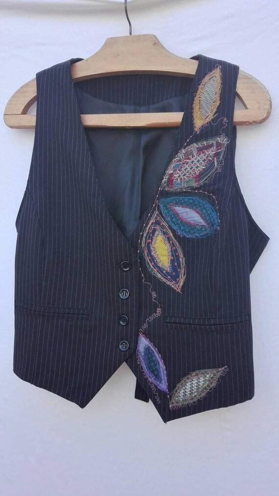upcycled clothing, boho, black vest, Bohemian style, recycled fabric, men's vest, recycled fashion, unisex, boho clothes, Italian handmade