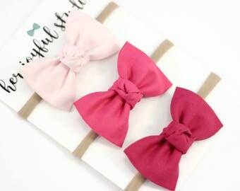 Pink Baby Headband, Baby Bow Headband, Headband Set, Baby Girl headband, Baby Accessories, Newborn Bows, Pink Bows,  Pinky Pie